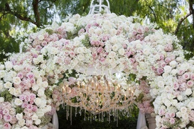 wedding ceremony chuppah white pink rose flowers chandelier crystal beverly hills hotel garden