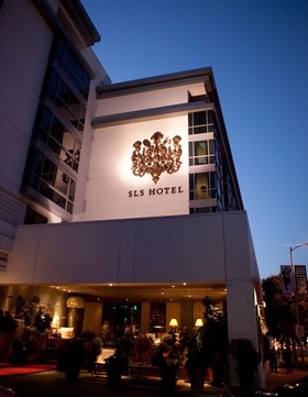 SLS Hotel in Beverly Hills at sunset evening