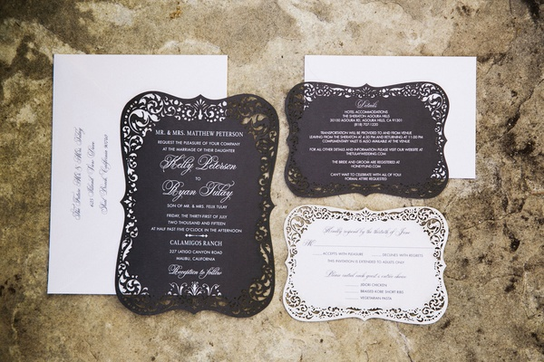 wedding paper divas black and white invitation suite with laser cut damask border