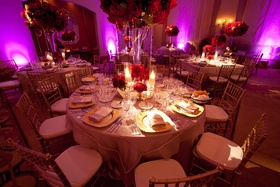 Round table and chairs with vibrant lighting