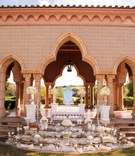 wedding ceremony mediterranean style pavilion staircase stage sofreh table display