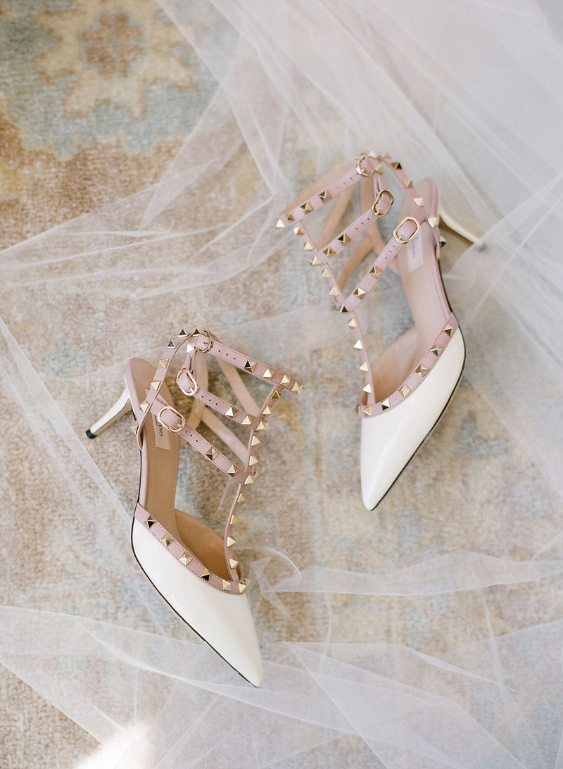 valentino pyramid stud strap low heels white blush gold metallic