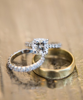 wedding rings cushion cut four prong diamond engagement ring eternity wedding band yellow gold