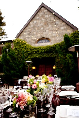Estate wedding tablescape with pink and green flowers