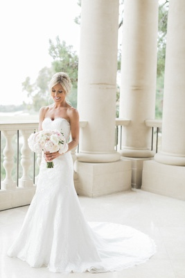 bridal portrait wedding photo strapless angel rivera wedding dress with bouquet flowers by cina