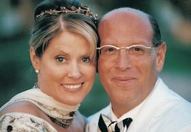Bride with high bun and jeweled headpiece