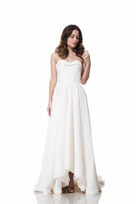 Strapless Austen dress with raised hemline by Olia Zavozina Fall 2016