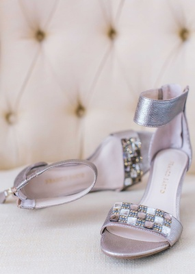 Silver peep toe wedding sandal shoes with thick ankle strap and checkerboard details on toe strap