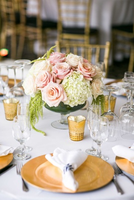 blush roses, ivory hydrangeas, amaranthus gold votives