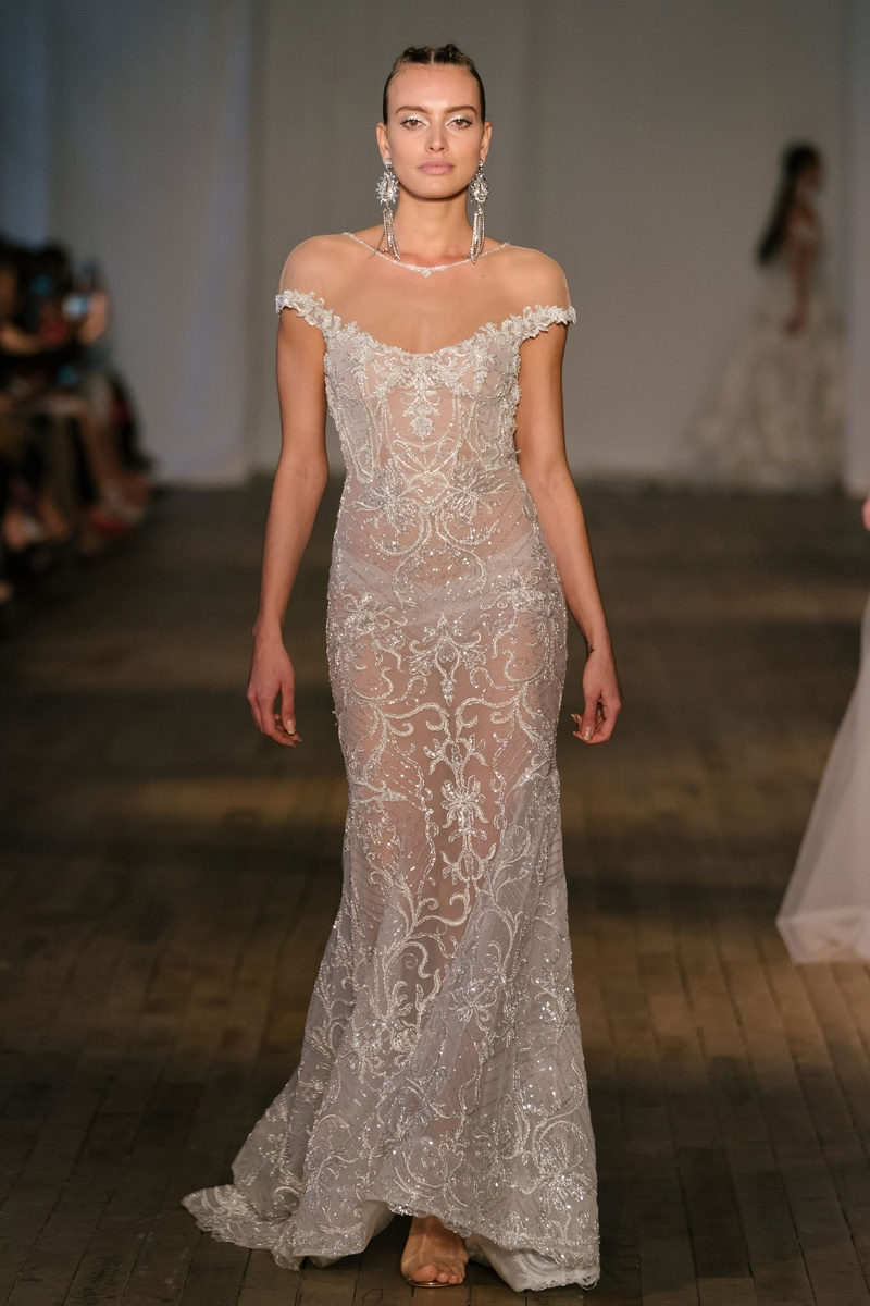 1bab13a7e3b Berta spring 2019 bridal collection wedding dress off shoulder cap sleeve  sheer illusion dress