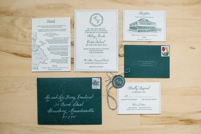 deep green wedding invitation suite envelopes rsvp card reception card couples monogram maine