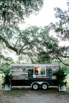 wedding reception cute idea mobile bar coffee cart trailer wood plank panel chalkboard sign