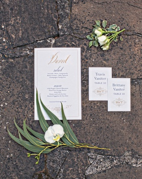Wedding stationery white gold menu card with calligraphy names for menu and monogram escort card