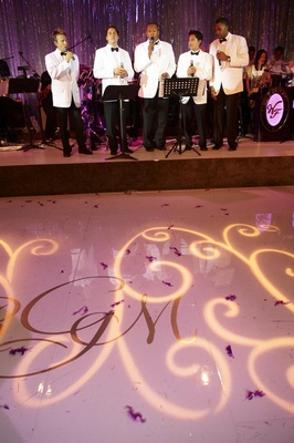 Singers in white tuxedo jackets at wedding reception