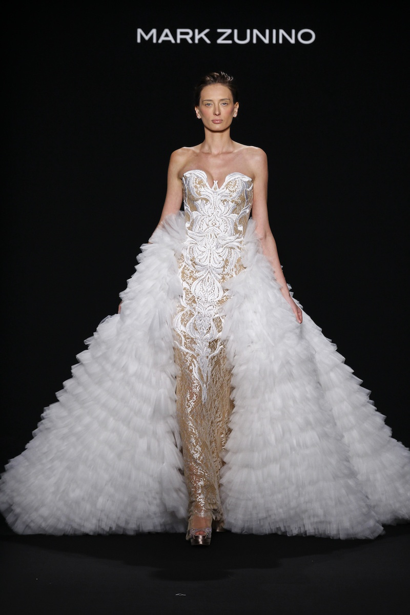 Mark Zunino For Kleinfeld 2016 Strapless Gold Wedding Dress White Embroidery With Ruffle Overskirt
