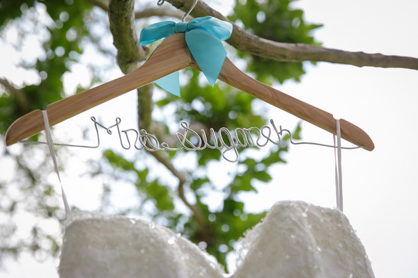 Personalized wedding dress hanger with turquoise ribbon