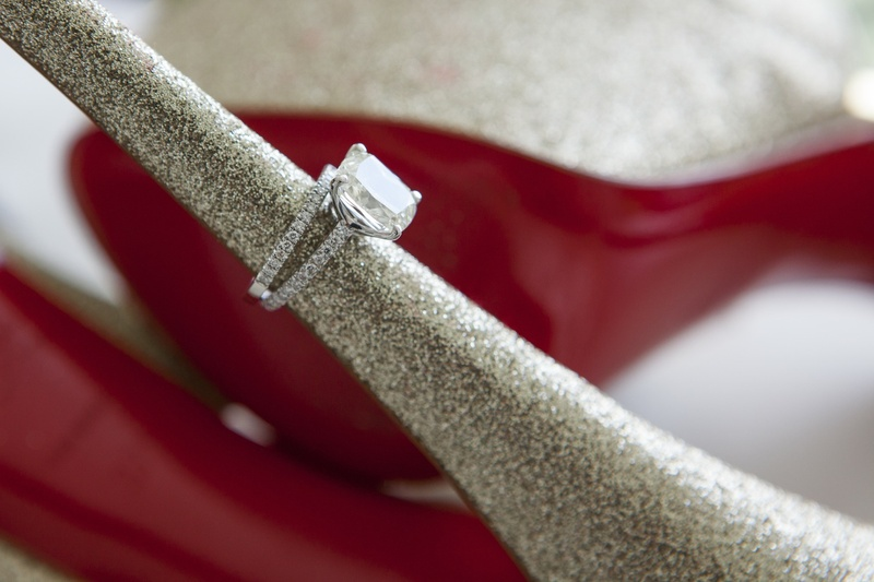 Christian Louboutin sparkle heel with diamond engagement ring
