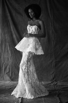Francesa Miranda fall 2019 bridal collection wedding dress Giada trumpet peplum embroidered applique