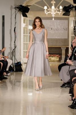 2d7cc23f1a Oleg Cassini spring summer 2018 bridesmaid dress v neck tea length bridesmaid  gown pleats crystal