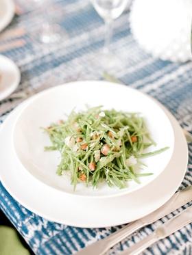 bridal shower menu snow pea chiffonade with pancetta pecorino mint salad course blue white batik