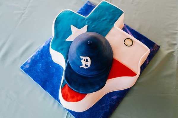detriot lions quarterback matthew stafford rehearsal dinner texas football hat red white blue cake