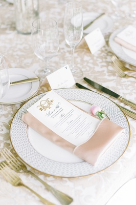 gold dinnerware charger blush napkins menu south carolina feminine wedding color palette royal posh