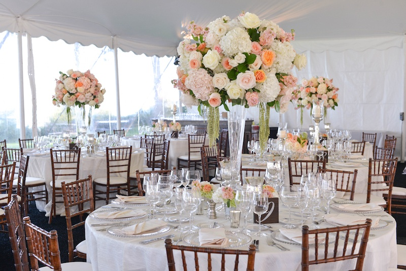 Reception Decor Photos Tent Wedding Reception With Peach Flowers