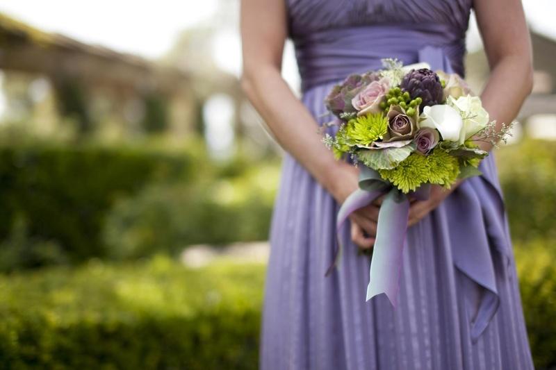 Green mum, purple artichoke, wedding bouquet