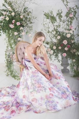 Charlotte Balbier strapless flower print wedding dress Bloom purple pink train draped bodice