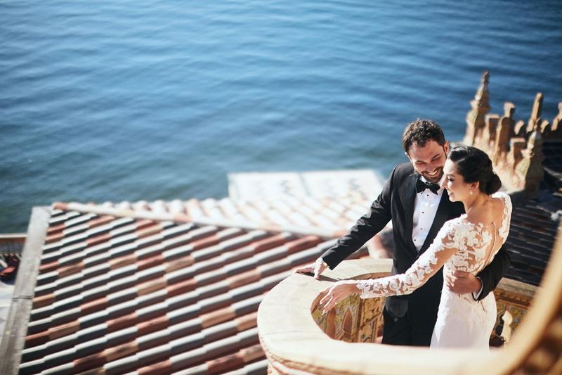 bride in pronovias gown with lace bodice, crepe skirt, groom in tuxedo, ca' d'van wedding ocean view