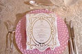 pink charger plate white menu with gold border details and monogram salad entree dessert