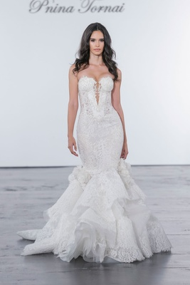 Pnina Tornai for Kleinfeld 2018 wedding dress mermaid gown lace sequins ruffle skirt flowers