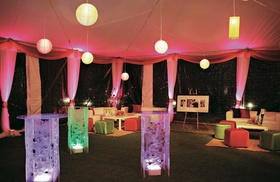 Modern party space with lights and lanterns