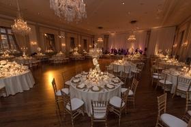 standard club chicago wedding, gold chiavari chairs, crystal chandeliers