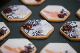 "painted sugar cookiers for bridal shower embossed with ""till death"""