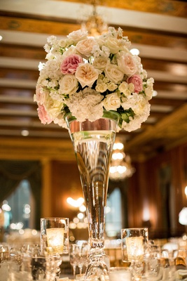 blush garden roses, white hydrangeas, large fluted vase