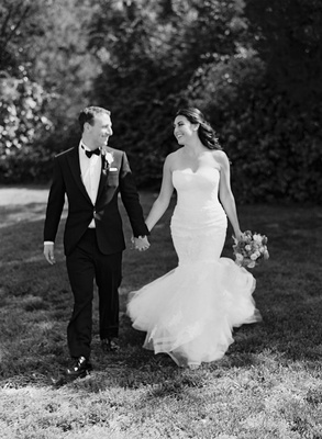 Black and white photo of couple in garden