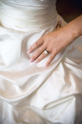 Three-stone engagement ring set in platinum