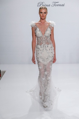 Pnina Tornai for Kleinfeld 2017 Dimensions Collection sheer beaded wedding dress flowers on sleeves