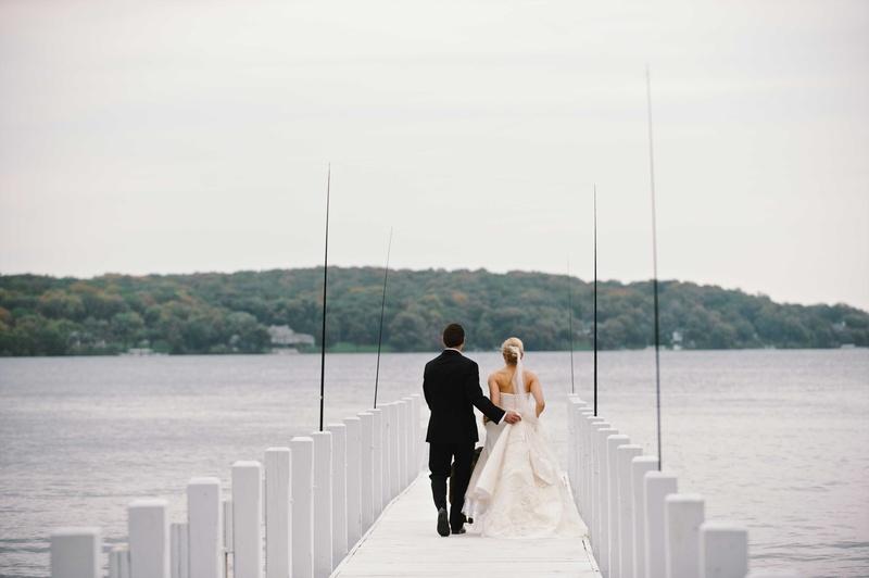 0782ed32a96dab Couples Photos - Newlyweds Take a Walk on Lake Pier - Inside Weddings