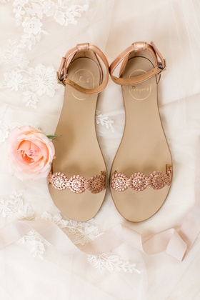 Rose gold flat wedding sandals strap ankle strap bridal flats wedding shoes
