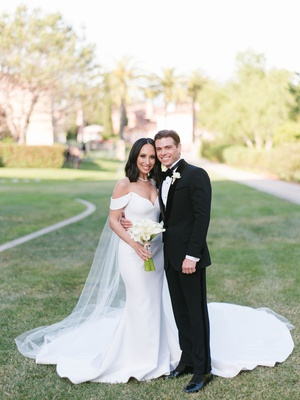 cheryl burke and matthew lawrence wedding portrait romona keveza wedding dress off shoulder onik