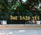 """engagement party inspiration, gold mylar balloon letters """"she said yes"""""""