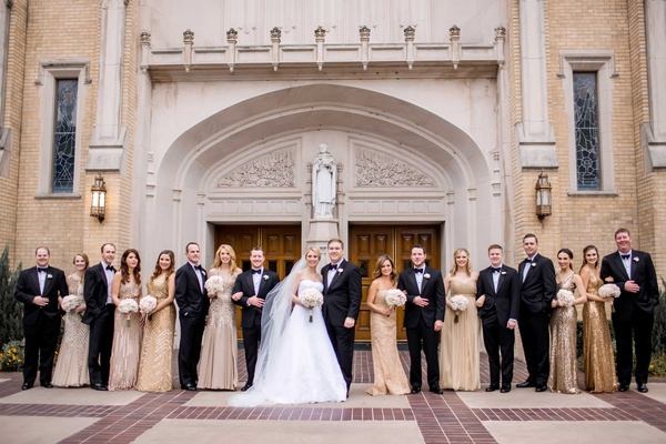 bride groom wedding party metallics bridesmaids tuxes groomsmen church dallas christian catholic