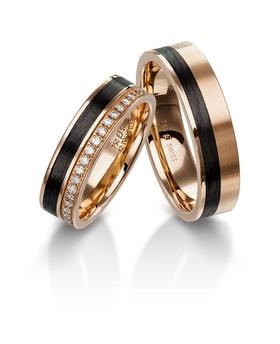 Furrer Jacot 62-53150 rose gold carbon fiber wedding bands