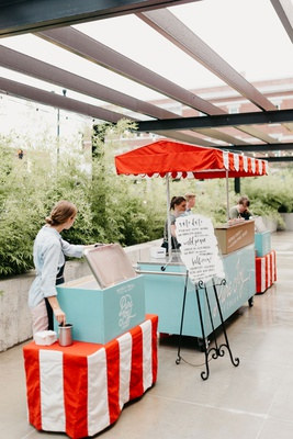 wedding reception outdoor ice cream vintage cart with calligraphy menu custom flavors personalized