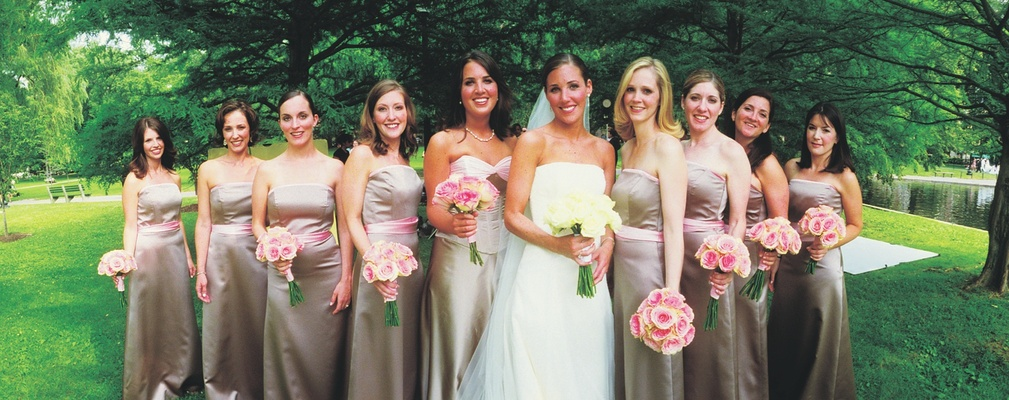 Neutral tan, taupe, and pink strapless bridesmaid dresses
