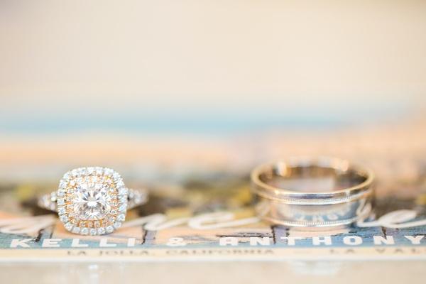 cushion cut engagement ring men's wedding band diamonds marriage bride jewelry modern cut opulent