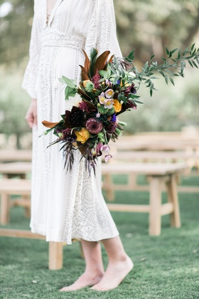 coloful cascading boho bouquet southern california winter styled shoot ranch unique wedding