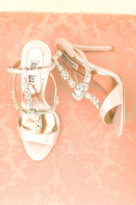 badgley mischka wedding shoes, pale blush shoes, crystal embellishments on straps